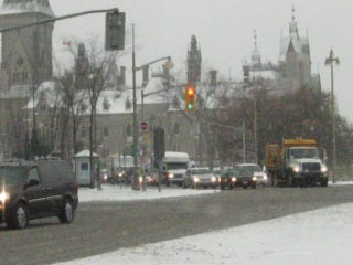 First snow at the Parliament Buildings in Ottawa